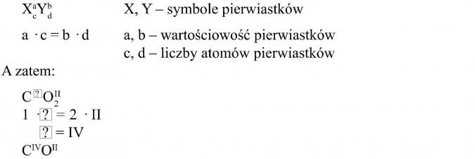 Symbole pierwiastków, wartościowość pierwiastków, liczby atomów pierwiastków. A zatem...