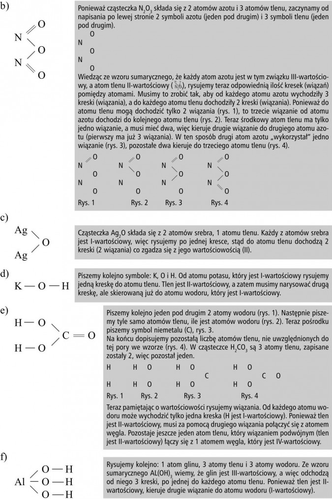 """Ponieważ cząsteczka N2O3 składa się z 2 atomów azotu i 3 atomów tlenu, zaczynamy od napisania po lewej stronie 2 symboli azotu (jeden pod drugim) i 3 symboli tlenu (jeden pod drugim). Wiedząc ze wzoru sumarycznego, że każdy atom azotu jest w tym związku III-wartościowy, a atom tlenu II-wartościowy ( ), rysujemy teraz odpowiednią ilość kresek (wiązań) pomiędzy atomami. Musimy to zrobić tak, aby od każdego atomu azotu wychodziły 3 kreski (wiązania), a do każdego atomu tlenu dochodziły 2 kreski (wiązania). Ponieważ do atomu tlenu mogą dochodzić tylko 2 wiązania (rys. 1), to trzecie wiązanie od atomu azotu dochodzi do kolejnego atomu tlenu (rys. 2). Teraz środkowy atom tlenu ma tylko jedno wiązanie, a musi mieć dwa, więc kieruje drugie wiązanie do drugiego atomu azotu (pierwszy ma już 3 wiązania). W ten sposób drugi atom azotu """"wykorzystał"""" jedno wiązanie (rys. 3), pozostałe dwa kieruje do trzeciego atomu tlenu (rys. 4). Cząsteczka Ag2O składa się z 2 atomów srebra, 1 atomu tlenu. Każdy z atomów srebra jest I-wartościowy, więc rysujemy po jednej kresce, stąd do atomu tlenu dochodzą 2 kreski (2 wiązania) co zgadza się z jego wartościowością (II). Piszemy kolejno symbole: K, O i H. Od atomu potasu, który jest I-wartościowy rysujemy jedną kreskę do atomu tlenu. Tlen jest II-wartościowy, a zatem musimy narysować drugą kreskę, ale skierowaną już do atomu wodoru, który jest I-wartościowy. Piszemy kolejno jeden pod drugim 2 atomy wodoru (rys. 1). Następnie piszemy tyle samo atomów tlenu, ile jest atomów wodoru (rys. 2). Teraz pośrodku piszemy symbol niemetalu (C), rys. 3. Na końcu dopisujemy pozostałą liczbę atomów tlenu, nie uwzględnionych do tej pory we wzorze (rys. 4). W cząsteczce H2CO3 są 3 atomy tlenu, zapisane zostały 2, więc pozostał jeden. Teraz pamiętając o wartościowości rysujemy wiązania. Od każdego atomu wodoru może wychodzić tylko jedna kreska (H jest I-wartościowy). Ponieważ tlen jest II-wartościowy, musi za pomocą drugiego wiązania połączyć się z atomem węgla. """